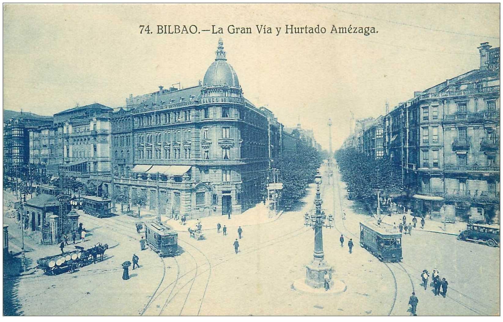 carte postale ancienne Espagne. BILBAO. Tramways la Gran Via y Hurtado Amézaga