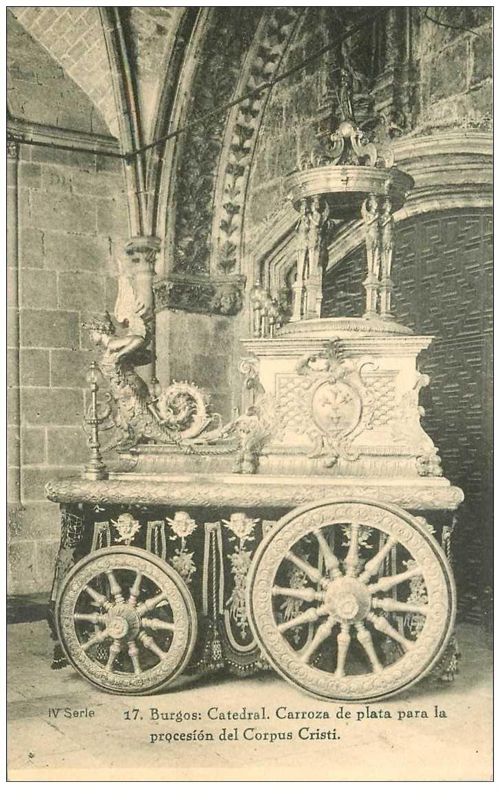 carte postale ancienne Espagne. BURGOS. Catedral Carroza de plata para la procesion del Corpus Cristi