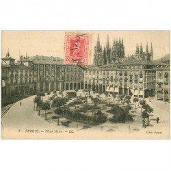 carte postale ancienne Espagne. BURGOS. Plaza Mayor 1925