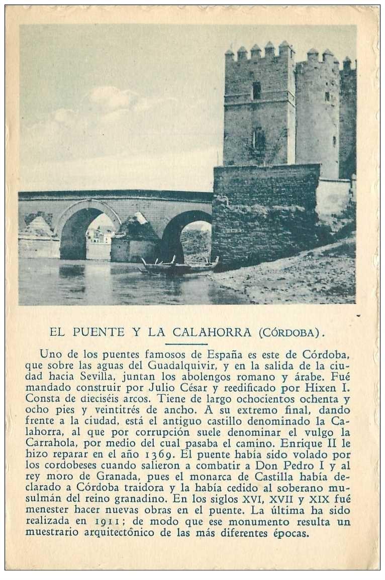 carte postale ancienne Espagne. CORDOBA. El Puente y la calahorra 1938. Carte publicitaire BORI bords dentelés