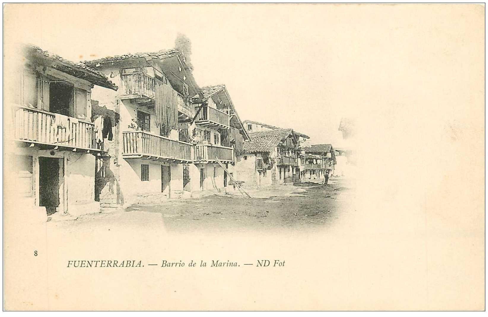 carte postale ancienne Espagne. FUENTERRABIA. Barrio de la Marina vers 1900