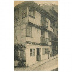 carte postale ancienne Espagne. FUENTERRABIA. Casa antigua en la calle Mayor animation