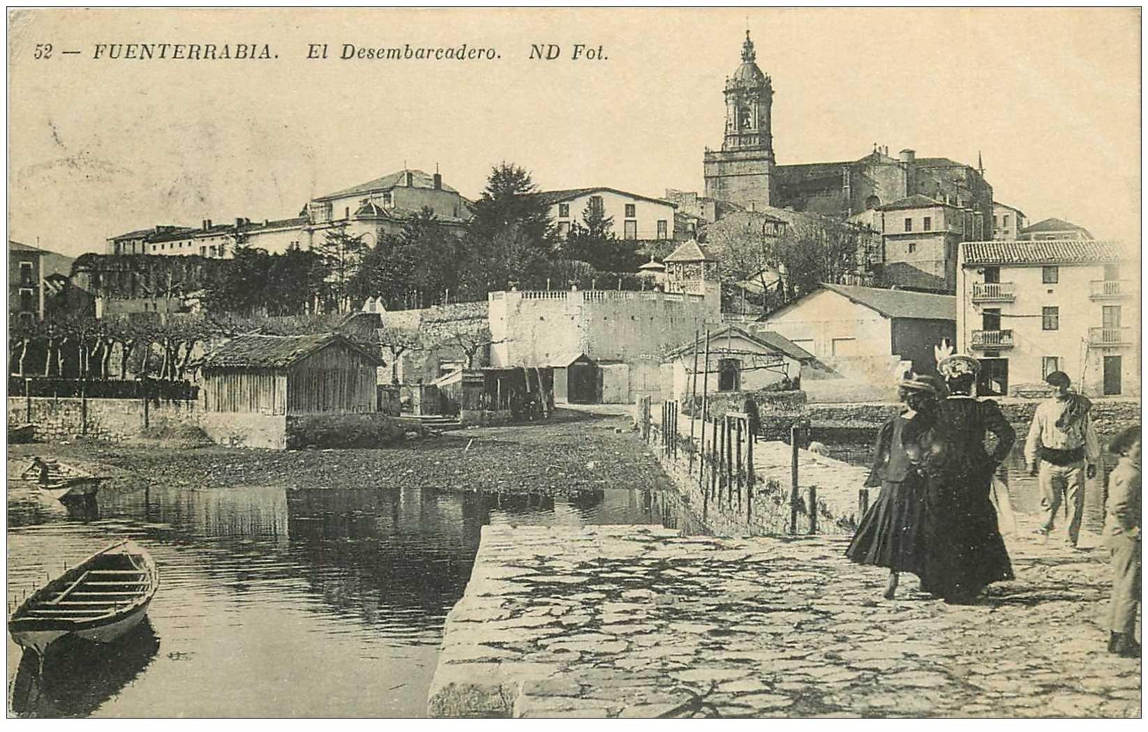 carte postale ancienne ESPAGNE. Fuenterrabia. El Desembarcadero 1913