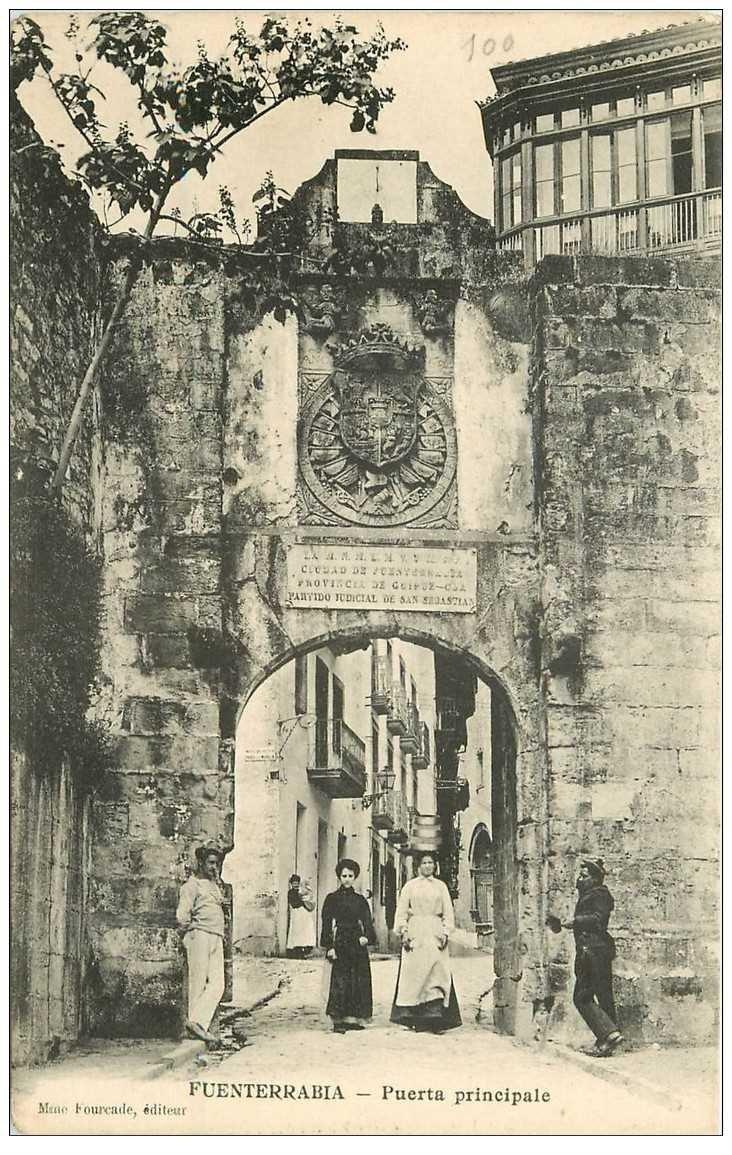 carte postale ancienne Espagne. FUENTERRABIA. La Puerta principale
