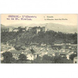 carte postale ancienne Espagne. GRANADA. La Alhambra desde San Nicolas