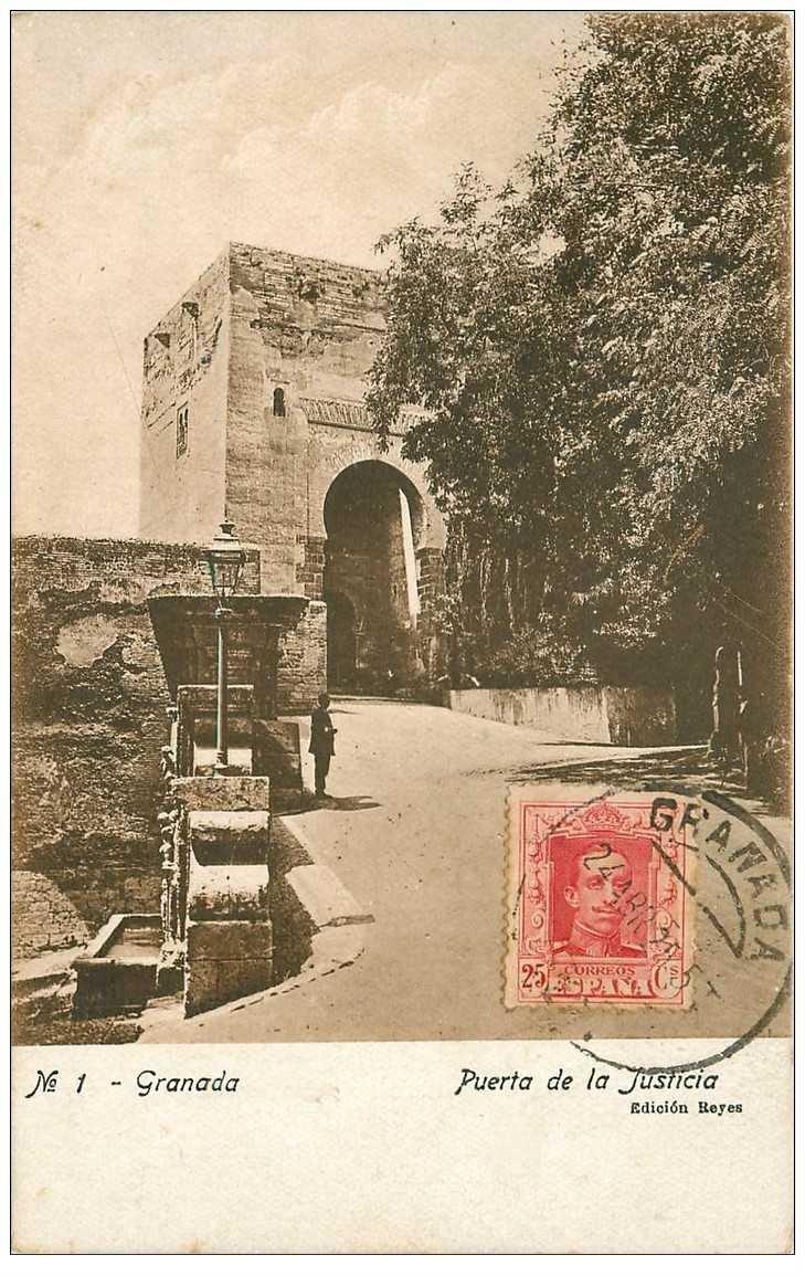 carte postale ancienne Espagne. GRANADA. Puerta de la Justicia 1925