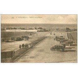 carte postale ancienne 14 RIVA-BELLA. Voitures anciennes à l'Entrée de la Plage