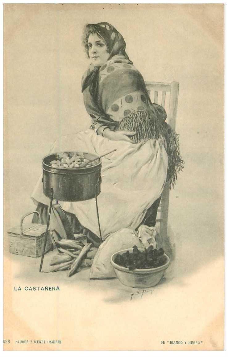 carte postale ancienne ESPAGNE. Madrid. La Castera. Vieux métiers la Vendeuse de Chataignes vers 1900