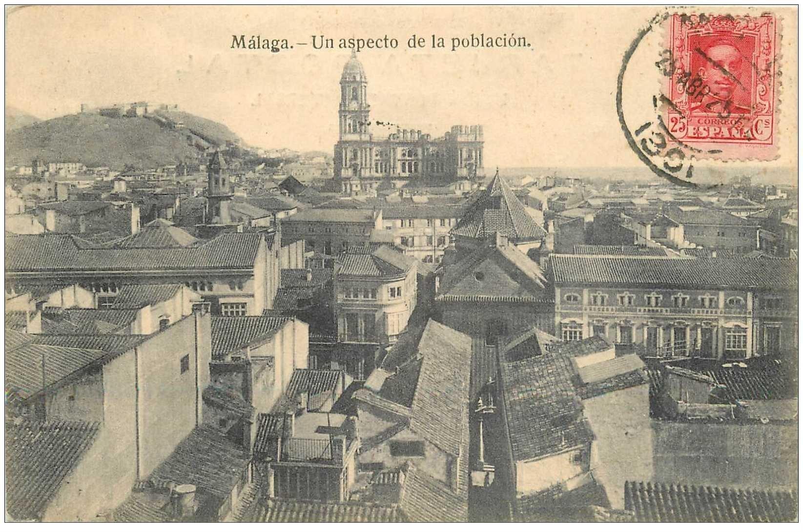 carte postale ancienne Espagne. MALAGA. Aspecto de la ploblacion 1925