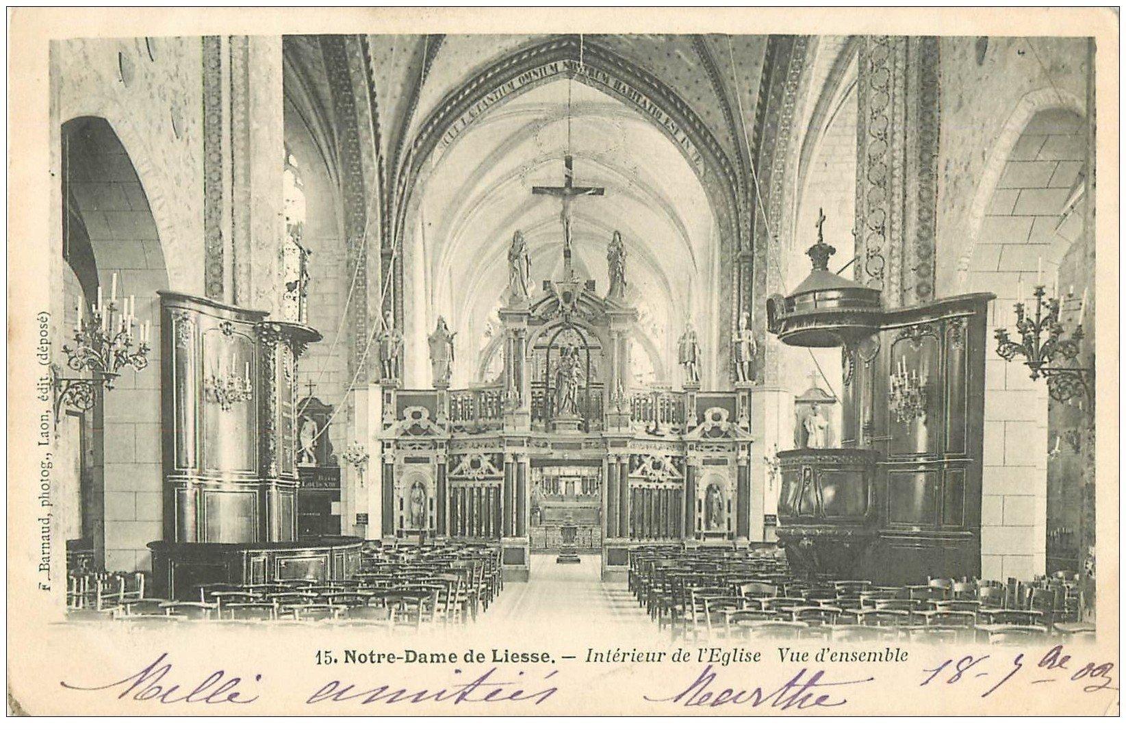 carte postale ancienne 02 NOTRE-DAME-DE-LIESSE. L'Eglise. Intérieur 1903