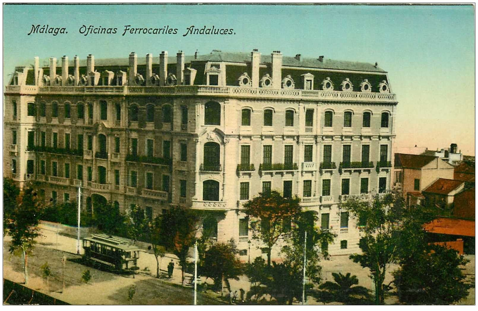 carte postale ancienne ESPAGNE. Malaga. Oficinas Ferrocariles Andaluces. Bureaux Office Ferrovière