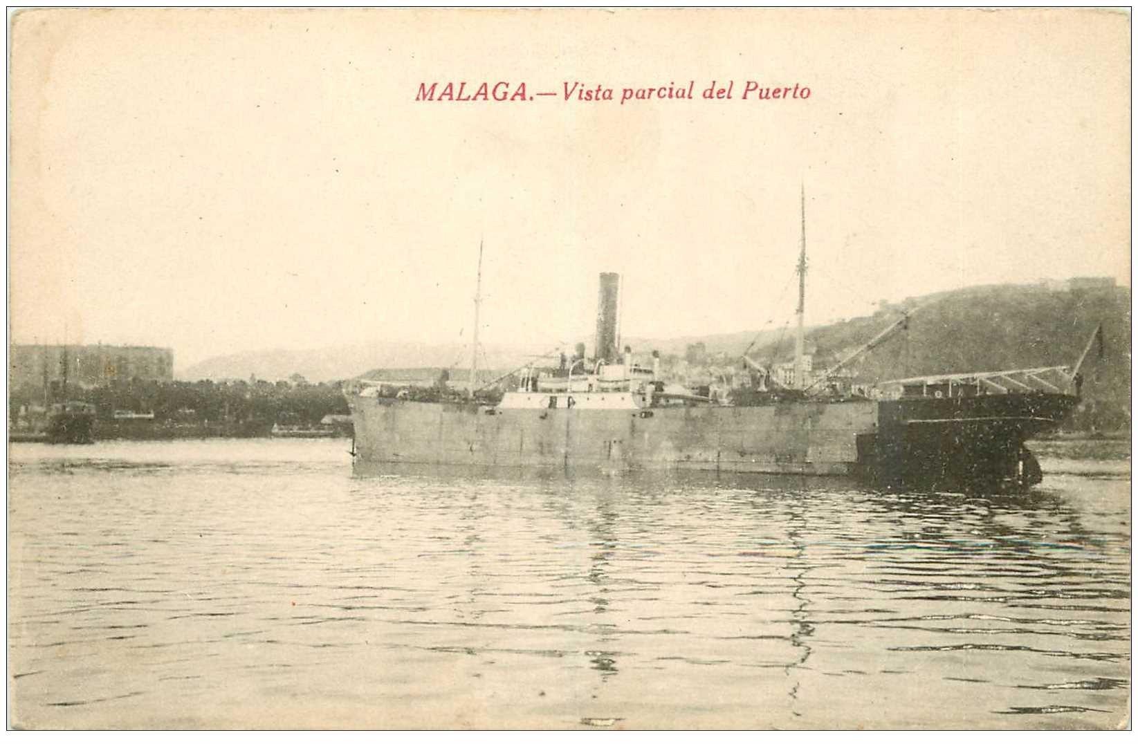 carte postale ancienne ESPAGNE. Malaga. Vista parcial del Puerto avec Navire