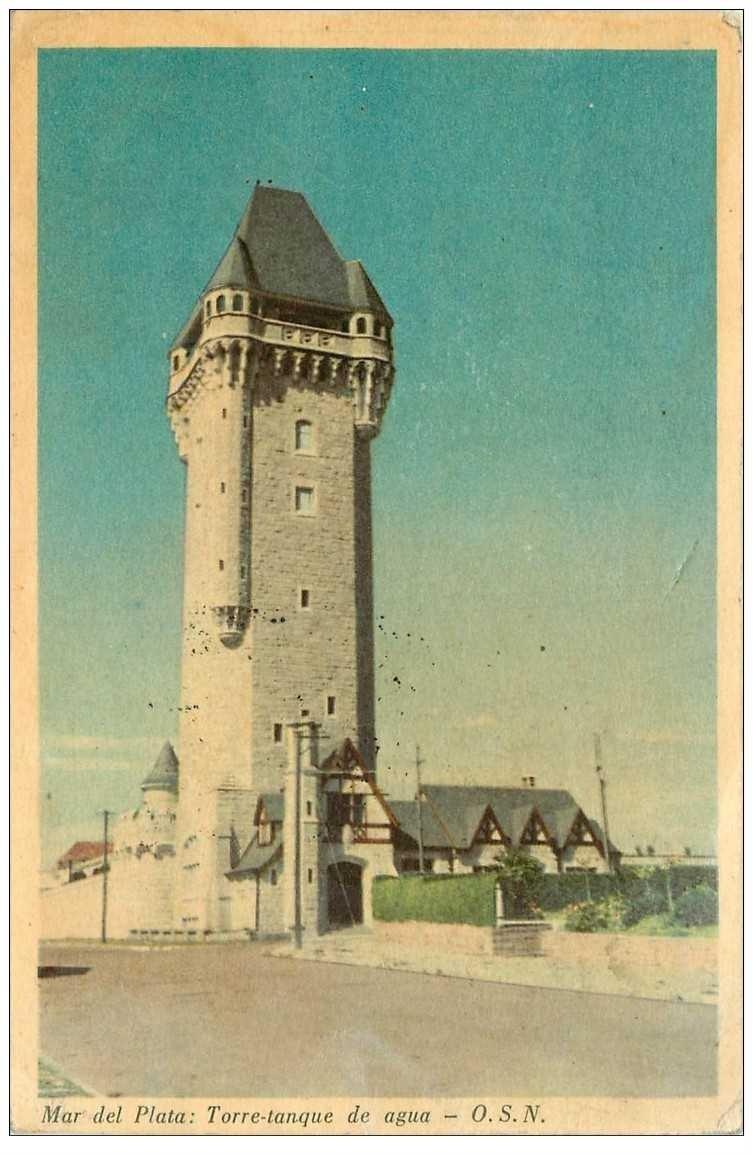 carte postale ancienne Espagne. MAR DEL PLATA. Torre tanque de agua