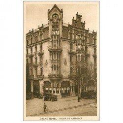 carte postale ancienne ESPAGNE. Palma de Mallorca. Grand Hôtel et voitures anciennes