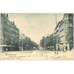 carte postale ancienne Espagne. SAN SEBASTIAN. Avenida de la Libertad 1903