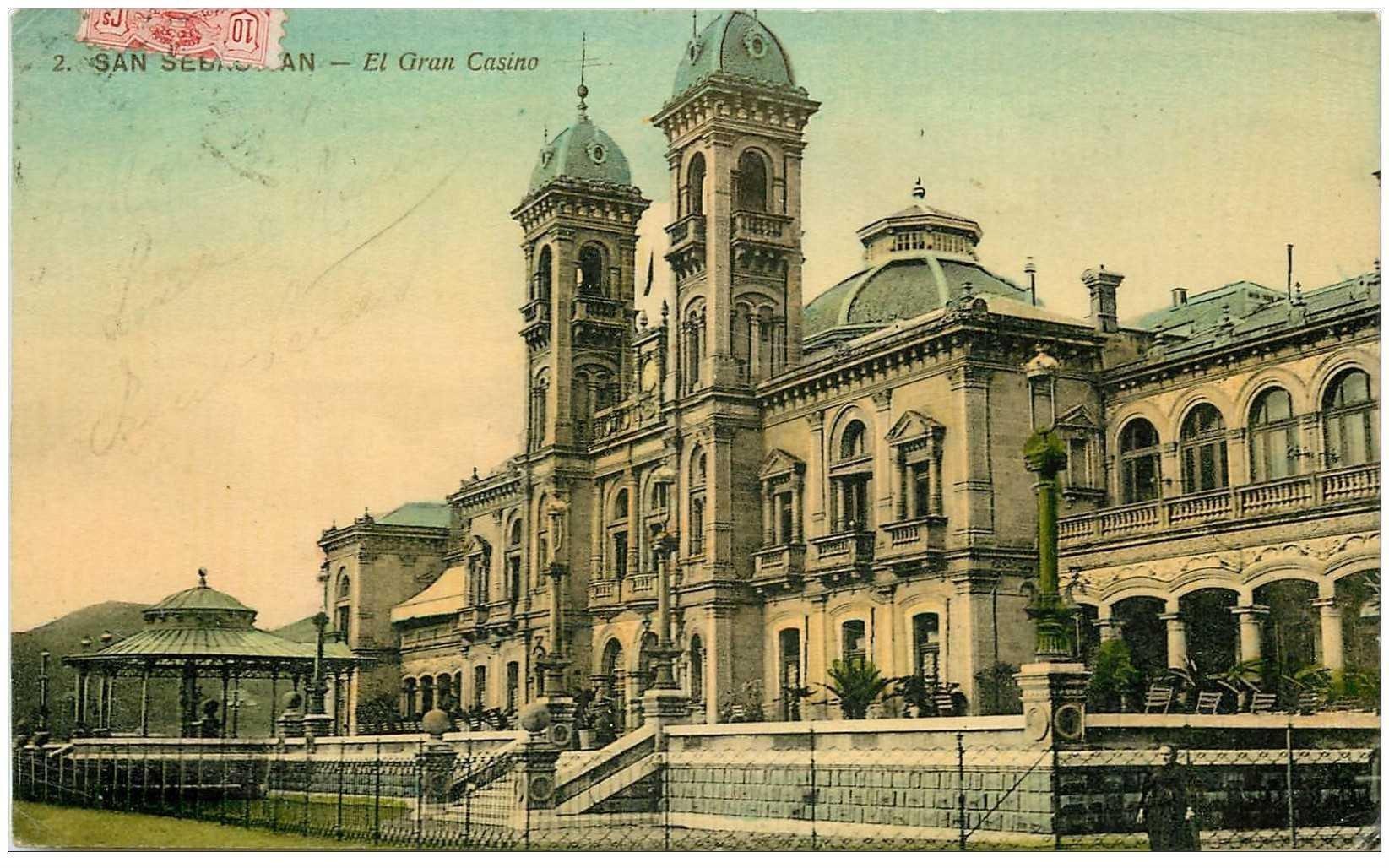 carte postale ancienne Espagne. SAN SEBASTIAN. El Gran Casino 1911