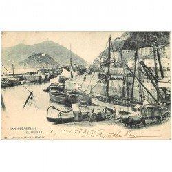 carte postale ancienne Espagne. SAN SEBASTIAN. El Muelle 1903. Attelage Boeufs et bateaux de Pêche dans le Port