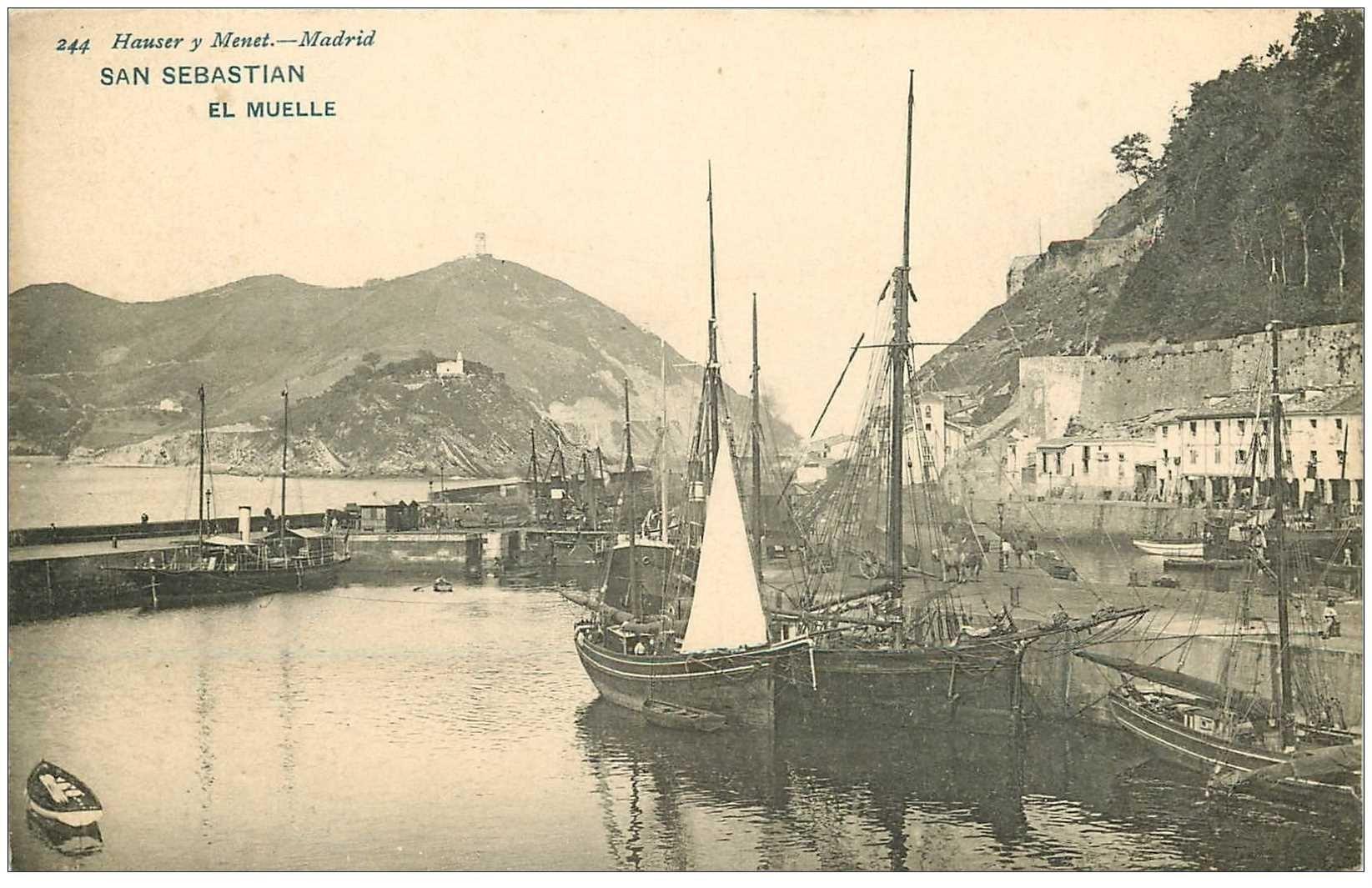 carte postale ancienne Espagne. SAN SEBASTIAN. El Muelle avec bateaux de Pêcheurs vers 1900