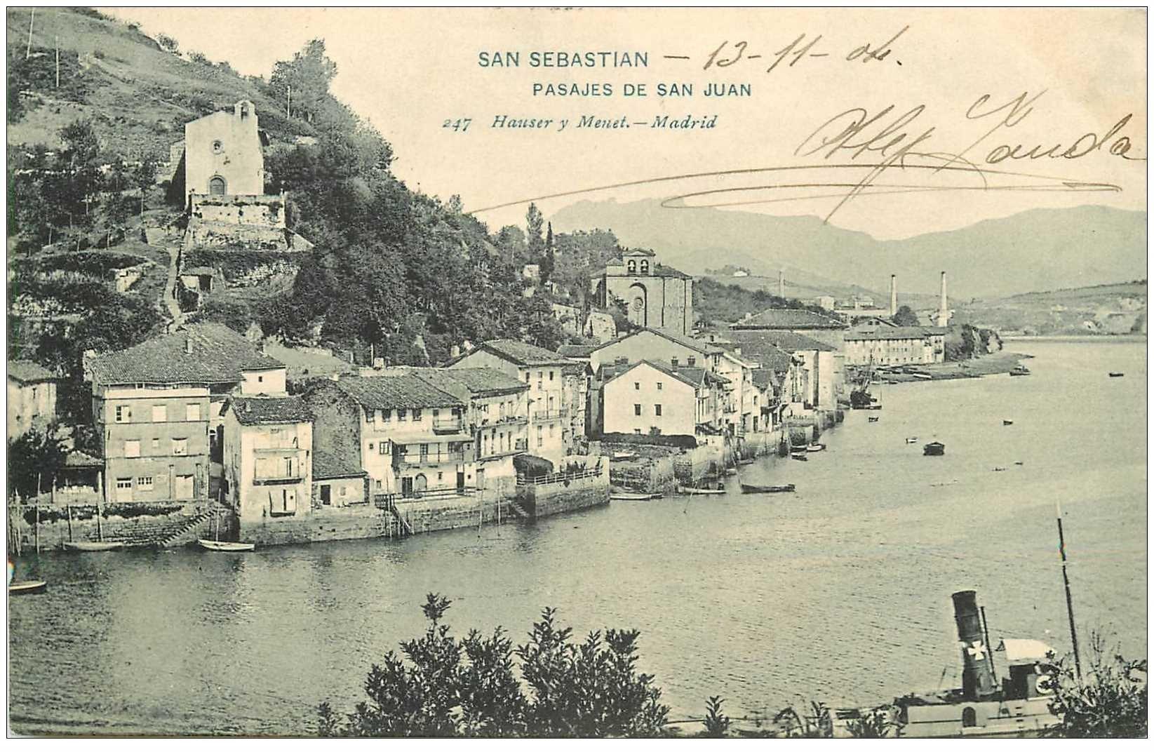 carte postale ancienne Espagne. SAN SEBASTIAN. Pasajes de San Juan 1904