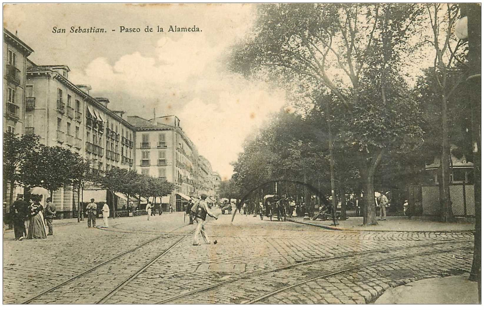 carte postale ancienne Espagne. SAN SEBASTIAN. Paseo de la Alameda vers 1910...