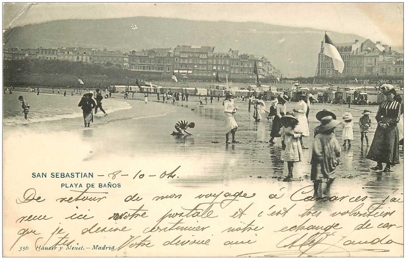 carte postale ancienne Espagne. SAN SEBASTIAN. Playa de Banos 1904
