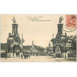 carte postale ancienne Espagne. SAN SEBASTIAN. Puente de Maria Cristina 1909