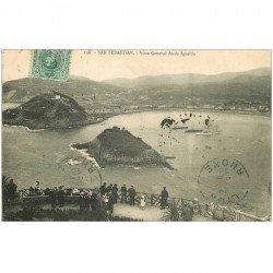 carte postale ancienne Espagne. SAN SEBASTIAN. Vista General desde Igueldo 1913 animation