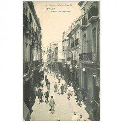 carte postale ancienne ESPAGNE. Sevilla. Calle de Sierpes vers 1900