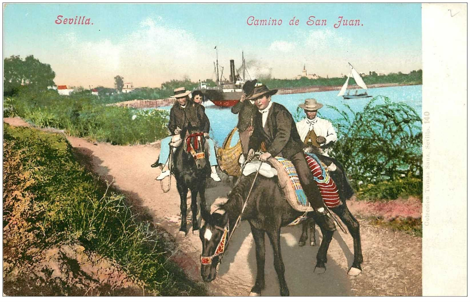 carte postale ancienne Espagne. SEVILLA. Camino de San Juan vers 1900