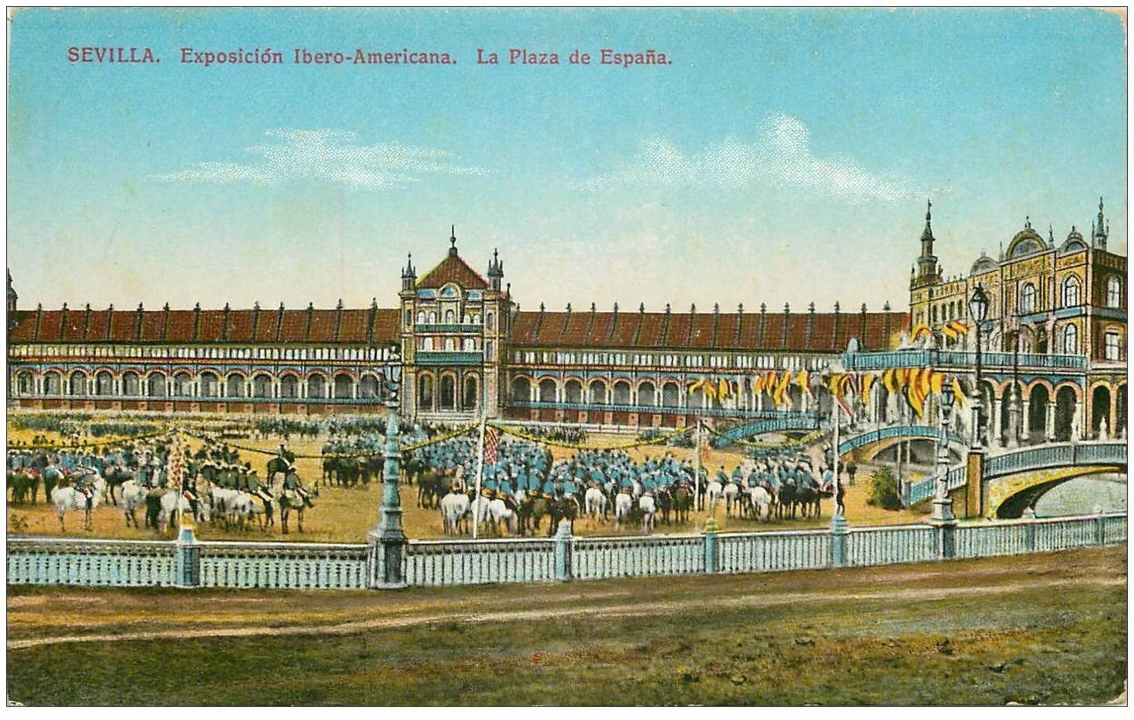 carte postale ancienne Espagne. SEVILLA. Plaza de Espana Exposicion Ibero Americana
