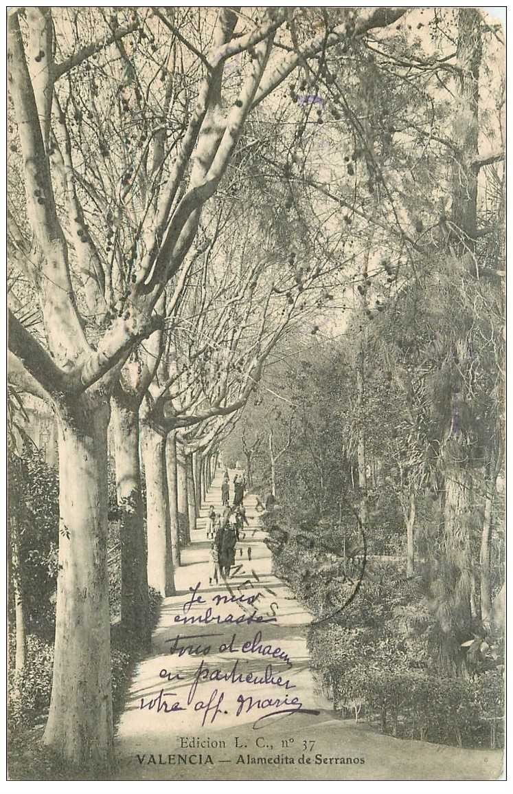carte postale ancienne Espagne. VALENCIA. Alamedita de Serranos 1907 (défaut)