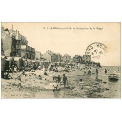 carte postale ancienne 14 SAINT-AUBIN. Animation de la Plage 1925