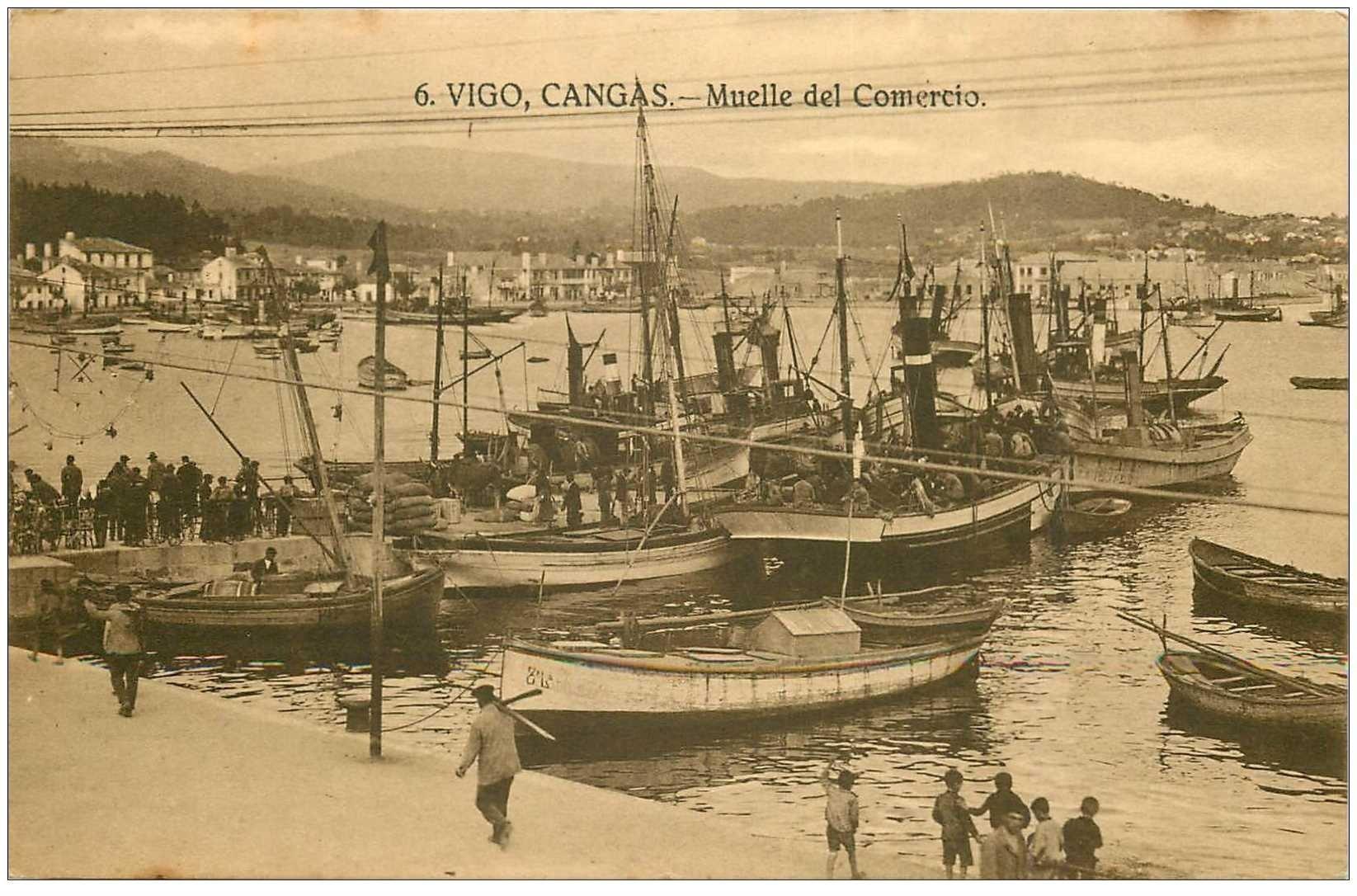 carte postale ancienne ESPAGNE. Vigo Cangas. Muelle del Comercio. Bateaux et Port de Pêche