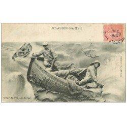 carte postale ancienne 14 SAINT-AUBIN. Coup de Vent au large 1906. Destinataire à Berck-sur-Mer
