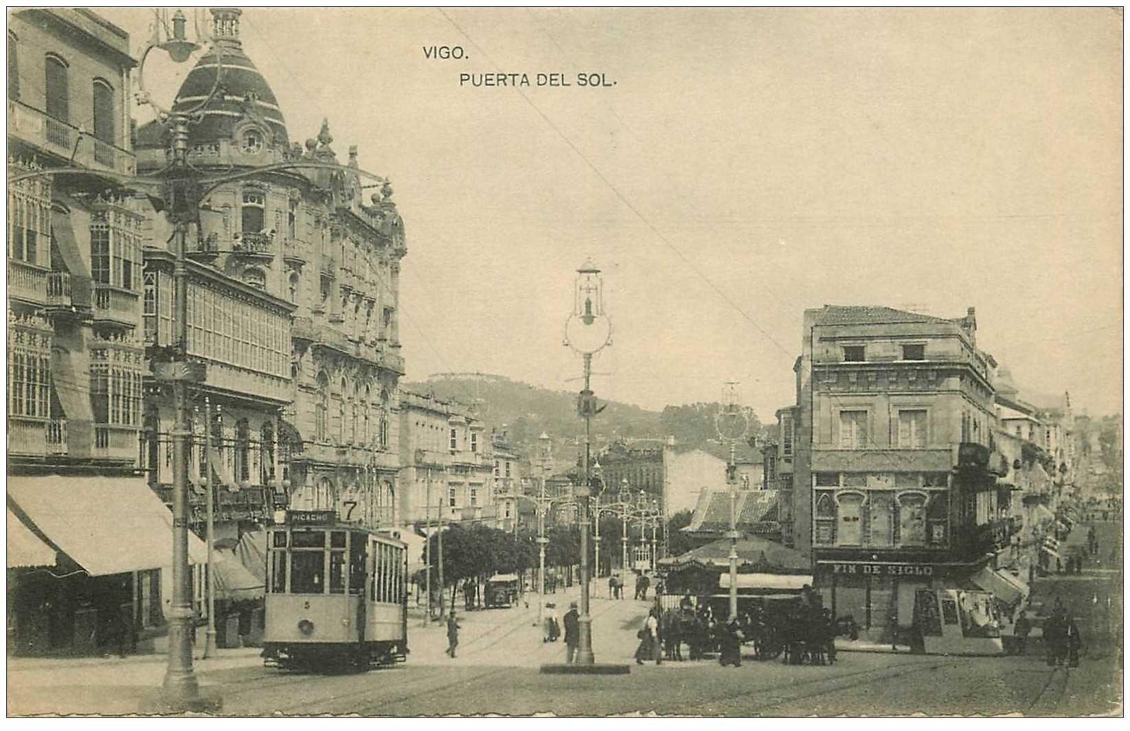 carte postale ancienne Espagne. VIGO. Puerta del Sol tramway