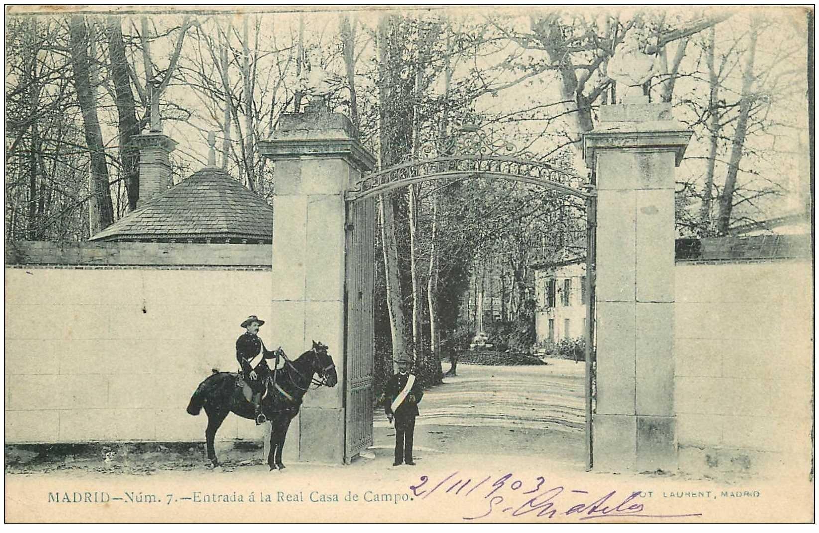carte postale ancienne MADRID. Entrada a la Real Casa de Campo 1903