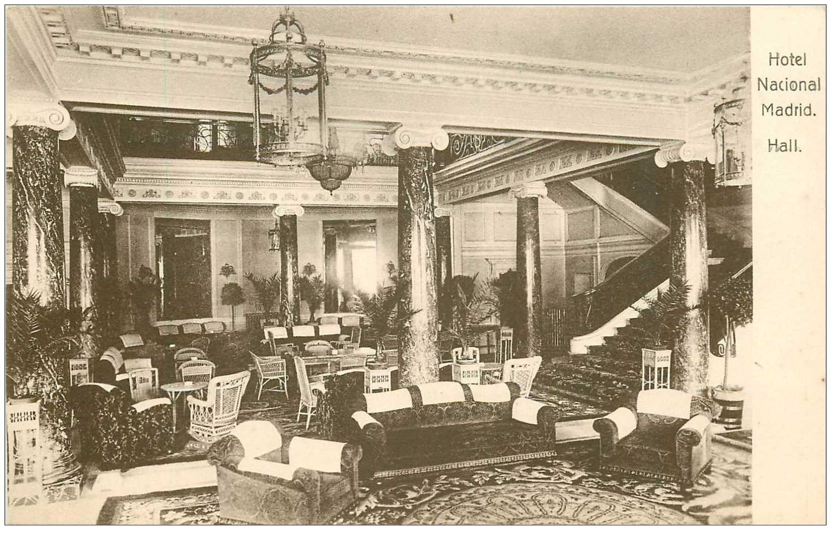carte postale ancienne MADRID. Hotel Nacional Hall