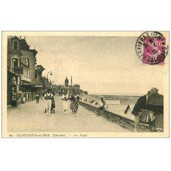 carte postale ancienne 14 SAINT-AUBIN. La Digue 1935