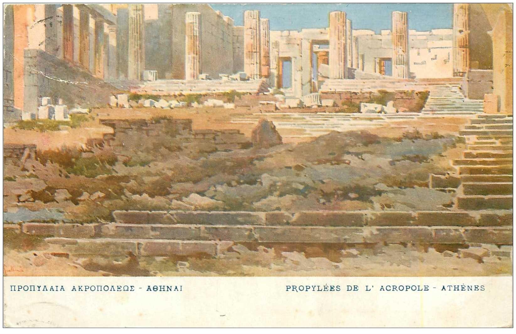 carte postale ancienne GRECE. Athènes. Propylées de l'Acropole 1910