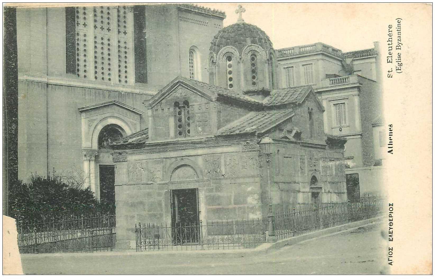 carte postale ancienne GRECE. Athènes. Saint Eleuthére Eglise Byzantine