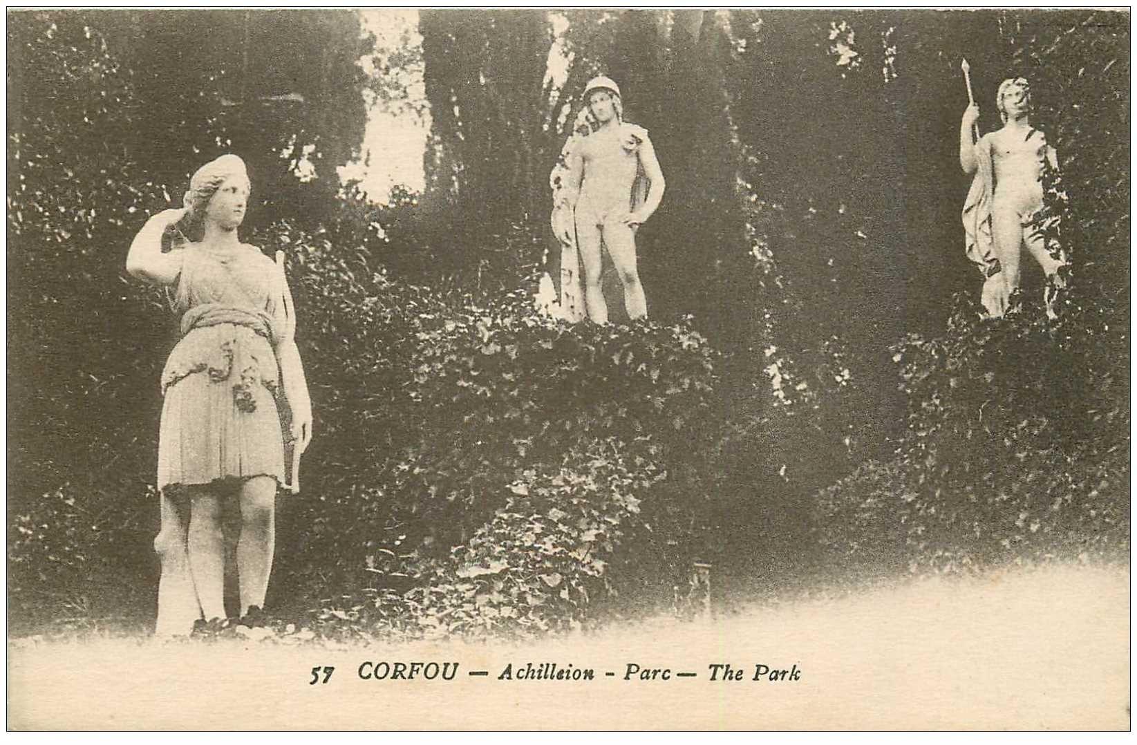 carte postale ancienne GRECE. Corfou Achilleion Parc