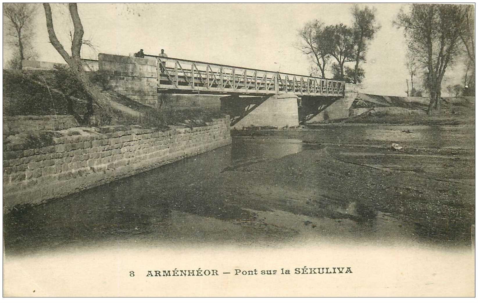 carte postale ancienne GRECE. Macédoine. Arménhéor Pont sur la Sékuliva 1918