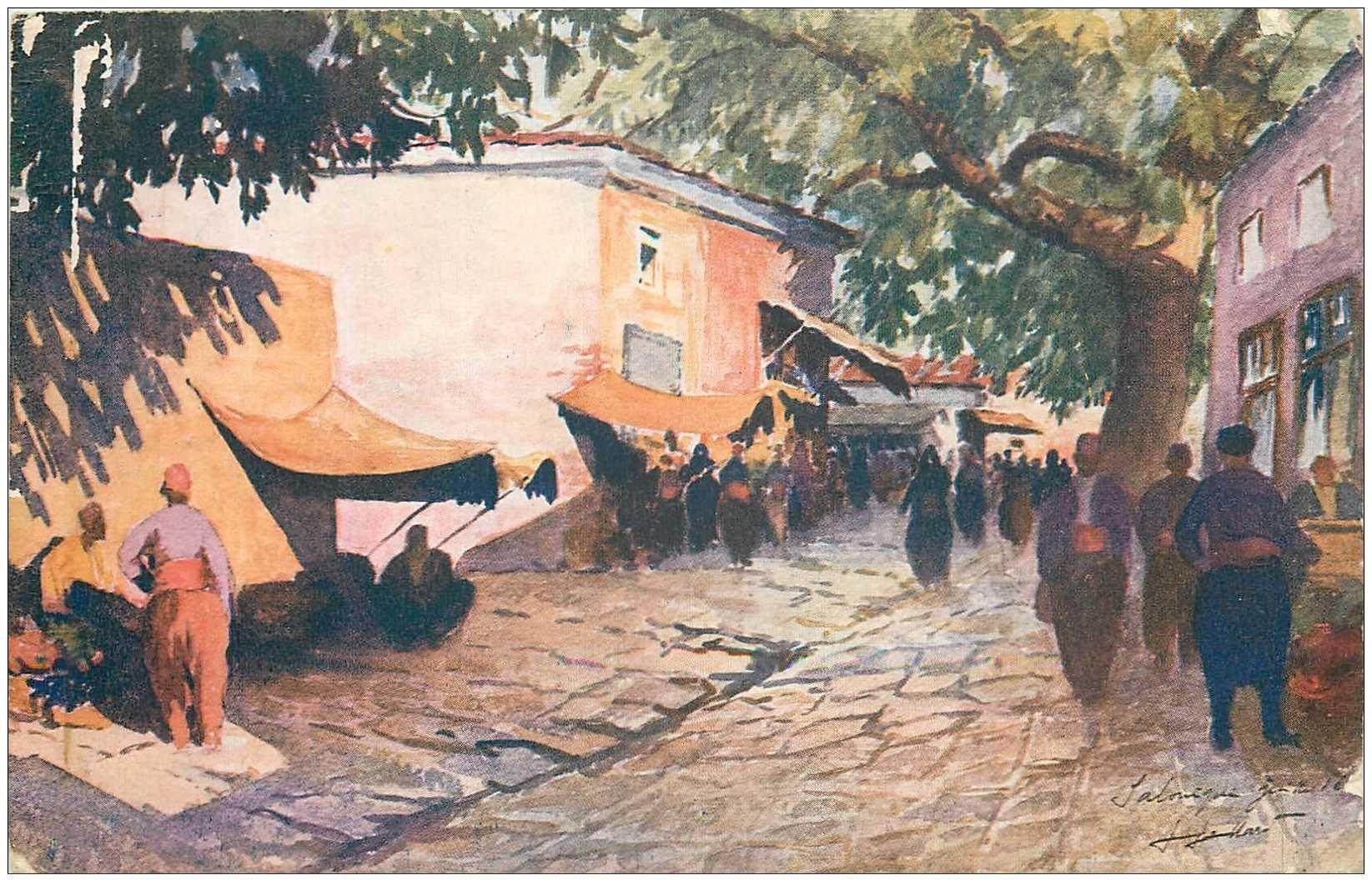 carte postale ancienne GRECE. Salonica, Marché dans la Ville Haute 1918