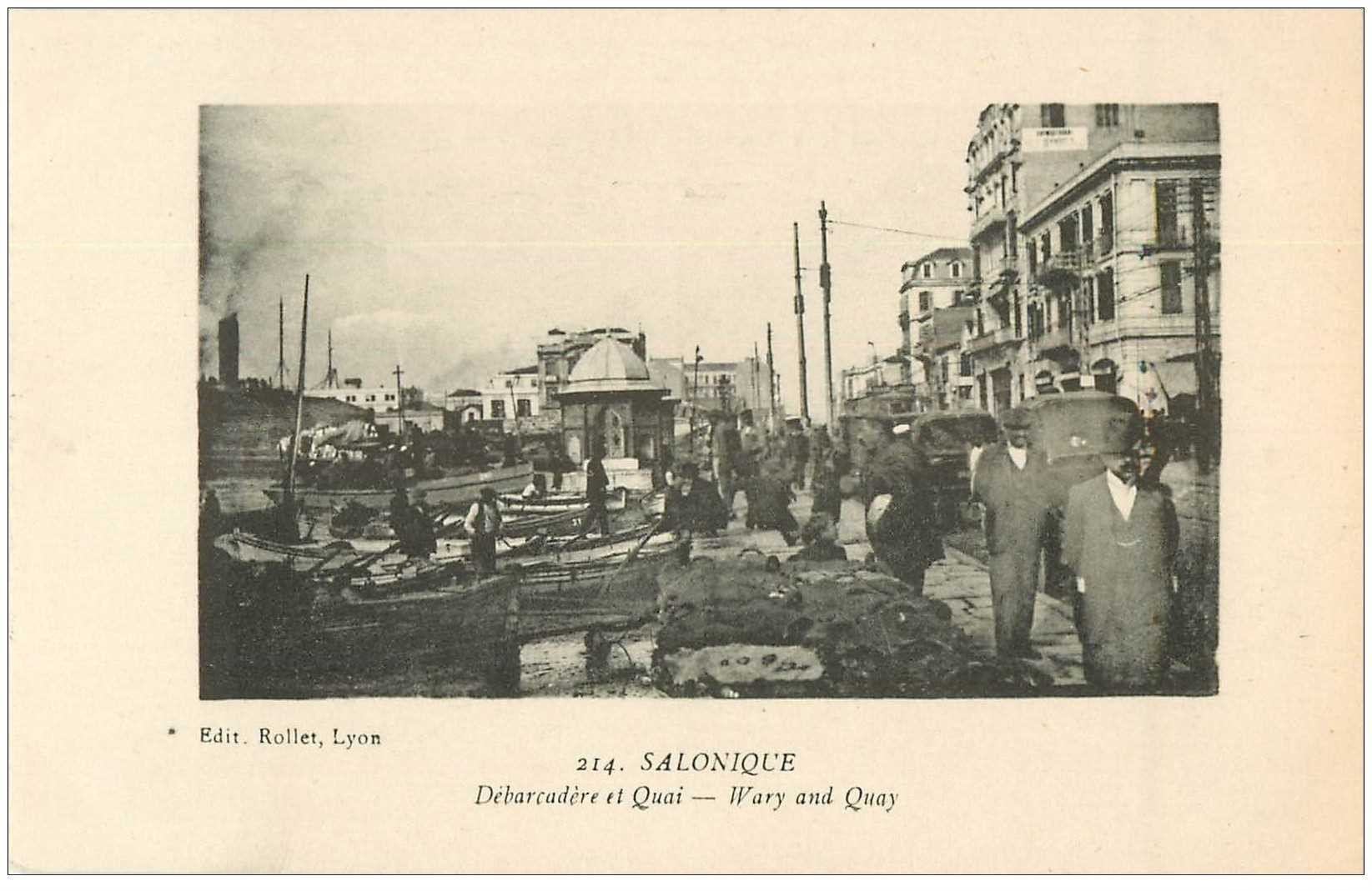 carte postale ancienne GRECE. Salonique Salonica. Débarcadère et Quai