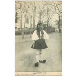 carte postale ancienne GRECE. Saloniques 1916 un Garde en costume traditionnel