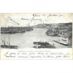 carte postale ancienne GENOVA. Il Porto dall'Hôtel d'Italia 1902 GÊNES