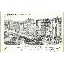 carte postale ancienne GENOVA. Piazza Caricamento 1902 GÊNES