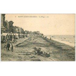 carte postale ancienne 14 SAINT-AUBIN. La Plage 1926