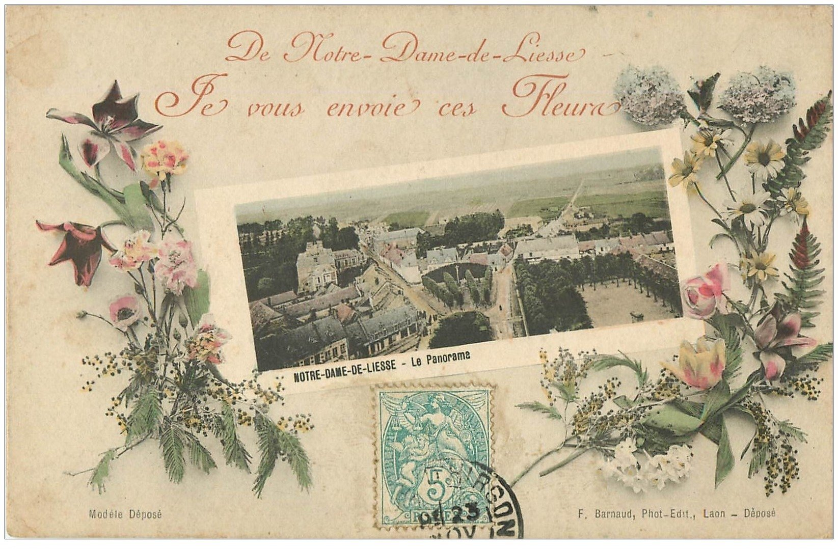 carte postale ancienne 02 NOTRE-DAME-DE-LIESSE. Panorama 1906