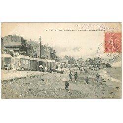 carte postale ancienne 14 SAINT-AUBIN. La Plage marée montante 1907